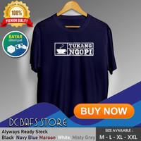 Baju Kaos Pria Distro Oblong Tshirt T shirt Pria Murah Tukang Ngopi - Putih, M