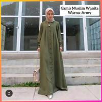 long dress muslim wanita jumbo bigsize gita baju gamis syari army