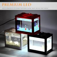 Aquarium mini LEGO Lampu LED USB akuarium kecil ikan cupang hias
