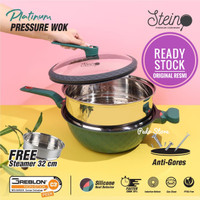 Stein Steincookware Wok Platinum 32cm Pressure Cooker Anti Baret