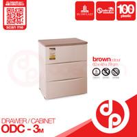LEMARI PLASTIK DRAWER CABINET 3 SUSUN OLYMPLAST ODC 03 M - [ODENPAN] - Cokelat