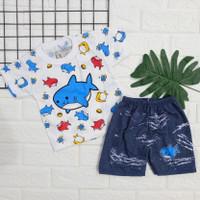 [LL SHARK] setelan baju anak motif lucu+Celana levis SML (BISA COD)