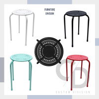 Kursi Cafe Bulat Minimalis Full Besi Kursi Tamu - Putih