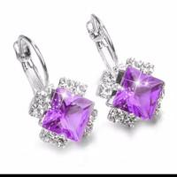anting kristal zircon warna ungu / merah / biru