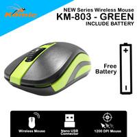 Mouse Wireless Komic KM-803 - 1200DPI Nano USB Free Battery - Green