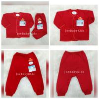 Miyo Setelan Panjang Baju bayi baru lahir 0-3 bulan polos warna merah