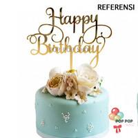 Cake Topper murah HAPPY BIRTHDAY Ulang Tahun / Hiasan Kue Gold