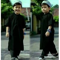 Baju Anak Laki laki Baju Koko Anak Baju Muslim Anak Setelan ANak Laki - 1-2 tahun, Hitam