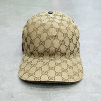 G u c c i Web Stripe GG-logo Baseball Cap Brown 100% Authentic - M