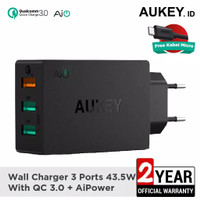 Charger Aukey Quick Charge 3.0 & AiQ 3 Ports PA-T14 Hitam