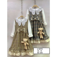 Setelan dress anak overall import Lengan panjang umur 4 - 7 tahun.
