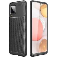 Carbon II TPU Case Samsung Galaxy A12 - Casing Black Soft Armor Ori