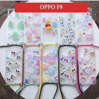 Oppo F9 Soft Case Casing Back Cover Cartoon Tali Slempang Sling Cute