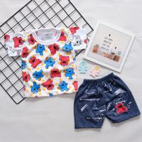 [LL ELMO] setelan baju anak anak motif lucu celana levis SML (BISA COD