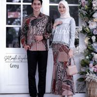 Batik couple Brokat Baju Stelan batik - Couple Grey, all size