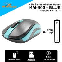 Mouse Wireless Komic KM-803 - 1200DPI Nano USB Free Battery - Blue