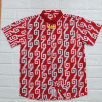 Akai Shirt (Kemeja Cheongsam Anak Bahan Batik Merah Kancing Kuning)