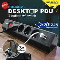 INDORACK PDU4G2 PDU Desktop Colokan Stop kontak 4 Outlet USB SURGE