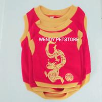 Baju Anjing / Kucing Kaos oblong T-shirt Imlek Dragon