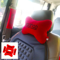 Bantal Mobil Sparco 1 set -Bantal Sandaran Leher Pada Jok mobil