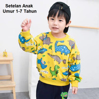 Setelan anak cowok atasan + celana panjang dinosaurus baju anak hangat