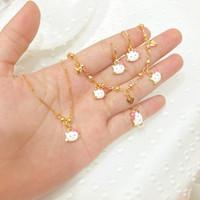 Set Perhiasan Anak Perempuan White Cat Aksesoris Fashion Wanita