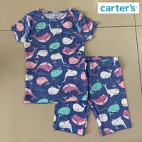 Baju Tidur Santai Setelan Anak Perempuan Carters Blue Whale