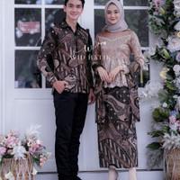 Baju Sarimbit Batik Couple Setelan Kebaya Baju Tunangan Pesta - Mocca
