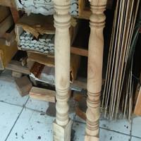 tiang anak pagar pager betawi railing tangga kayu bubut pembatas