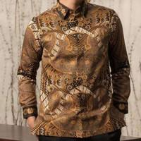 baju kemeja batik pria lengan panjang motif batik tulis modern kantor