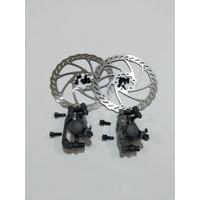 Rem cakram mekanik Cstar disc brake sepeda 1 set kampas bulat 6 bolt