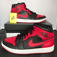 Air Jordan 1 Mid GS Bred Banned 2020 100% Authentic