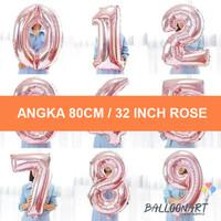 Angka 80CM ROSE GOLD/Balon Foil Angka Besar/Jumbo