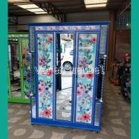 lemari pakaian 3 pintu aluminium karakter motif sticker bunga