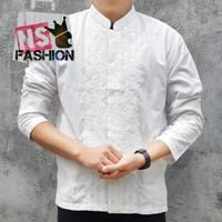 Baju Koko Pria Muslim Size M L XL Lengan Panjang Katun Putih Amrun - Putih, M