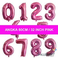 Angka 80CM PINK/Balon Foil Angka Besar/Jumbo