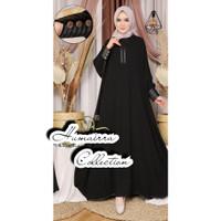 abaya kalong jet black by Humairra Collection / atasan gamis wanita