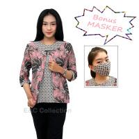 Blouse Batik Wanita Model Bolero Pink Kombinasi - Atasan Batik - XXL, Pink