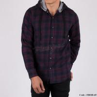 Baju kemeja pria flanel hoodie kupluk model jaket sweater cowo FHOD65