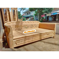 Ready bale bale kayu jati solid unfinishing / kursi tamu bale bagong