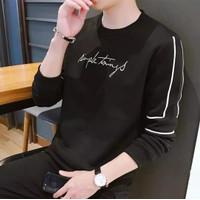 kaos pria sweater lengan panjang cowok babyterry baju SIMPLE THINGS - Hitam, M