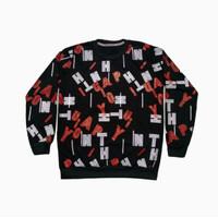 kaos pria sweater lengan panjang cowok bahan babyterry baju MODELO - hitam merah, M