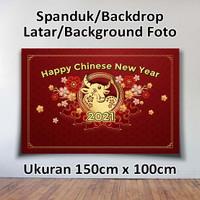 SPANDUK BANNER BACKDROP TAHUN BARU CHINA IMLEK 2021 Ukrn 150cm x 100cm