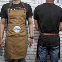 Full apron kanvas & synthetic leather strep for barista, barberman etc