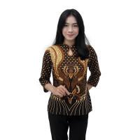 Blouse Batik Wanita Motif Merak Mahkota - Atasan Batik Modern