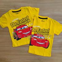 Baju Atasan Kaos Anak Laki Laki Cowok Cars Lightning Mcqueen Kuning