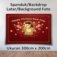 SPANDUK BANNER BACKDROP LATAR FOTO TAHUN BARU CHINA IMLEK 2021 2mX1m