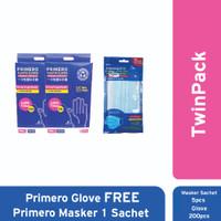 TwinPack Primero Glove Free Primero Masker 1 Sachet Emboss
