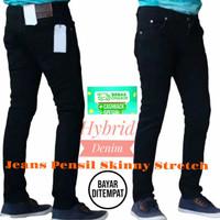 Celana Jeans Panjang Hitam Pria Slimfit Strit Pensil Bahan Karet