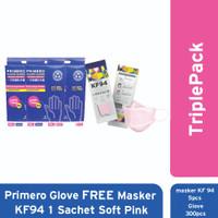 TriplePack Primero Hand Glove Free Masker KF94 1 Sachet Soft Pink